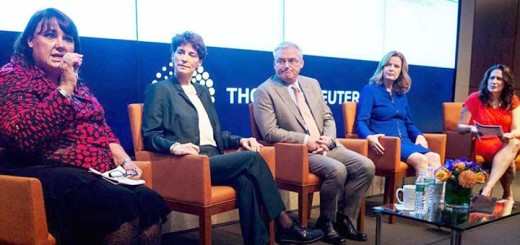 """""""Trading on Diversity"""" panel on Oct. 28, 2014.  Joe Keefe, center and Lauren Young far right. Photo: Thomson Reuters)"""