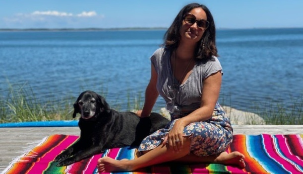 Nina Lorez Collins with her dog