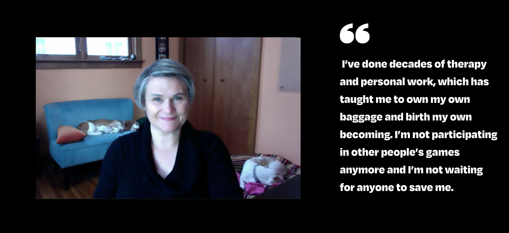 """Jen Kane photo and quote: """"I've done decades of therapy and personal work, which has taught me to own my own baggage and birth my own becoming. I'm not participating in other people's games anymore and I'm not waiting for anyone to save me."""""""