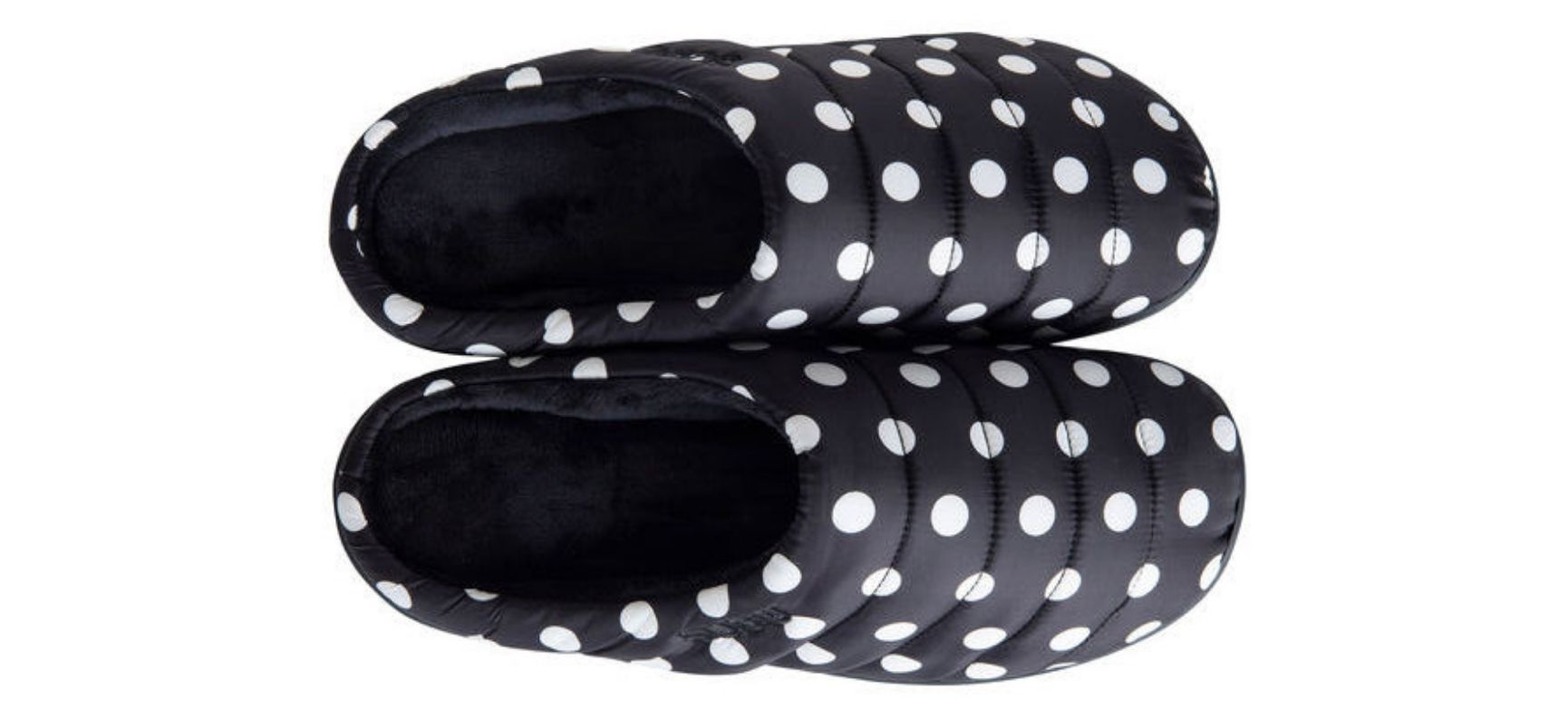 Black Subu slippers with white polka dots